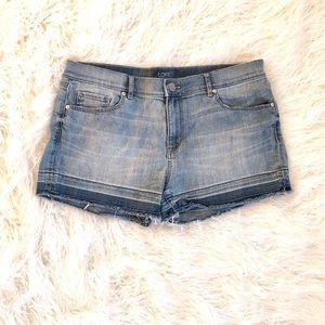 "Loft denim shorts raw hem size 10. waist 35"", rise"